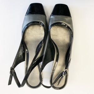 Easy Spirit Patent Leather Slingback, Black/Grey